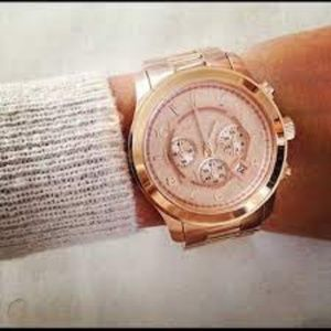 MICHAEL KORS~OVERSIZED LADIES' 8096~ ROSE-GOLD STAINLESS STEEL CHRONOGRAPH WATCH